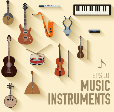 various music instruments vectors