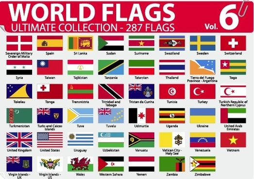 Country flags of the world with images and names