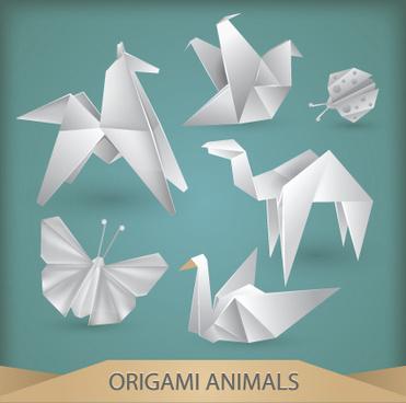 various origami animals design vector