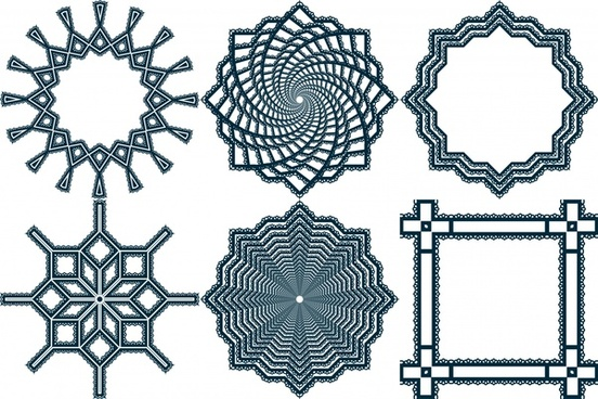 various ornamental shapes with lace border