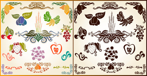 various plant decoration pattern vector