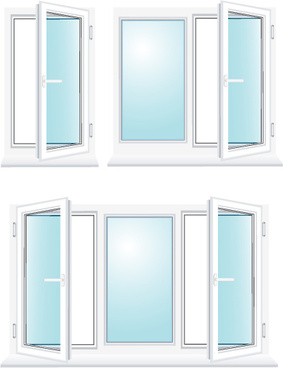 various plastic windows vector set