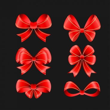 various red ribbon icons 3d shiny design