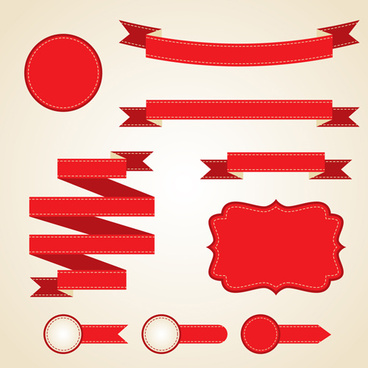 various red ribbons vector
