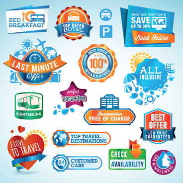 various sale stickers and labels design vector