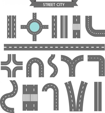 various shaped city street sketch design