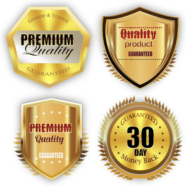 various shaped shiny golden quality gurantee labels collection