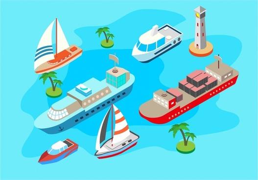 various ships 3d sketch vector