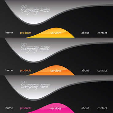 various sites menus design vector graphics