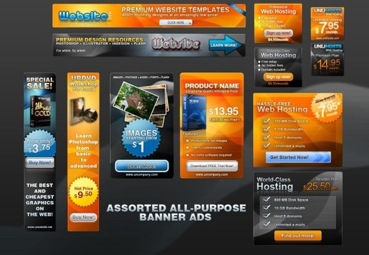 various sizes of web box template psd layered