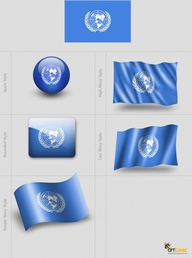 various styles of flag template psd layered