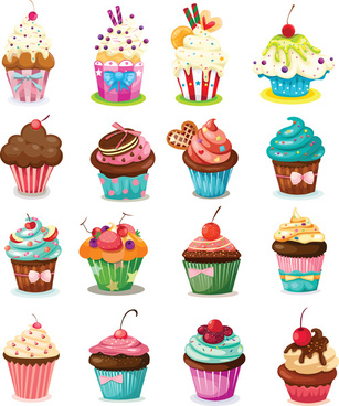 various sweet cakes set vector