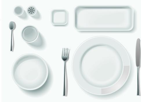 various tableware elements vector set