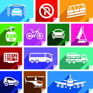 various transport icons set vector