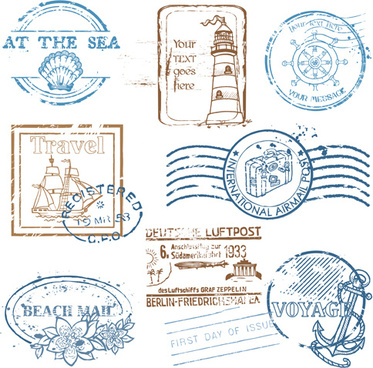 various travel stamps design vector