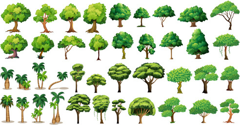 various tree vectors set