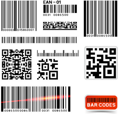 various types of barcodes vector set
