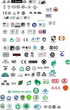 various types of certification marks vector