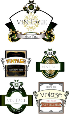 various vintage green labels vector set