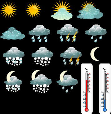 various weather icon vector set