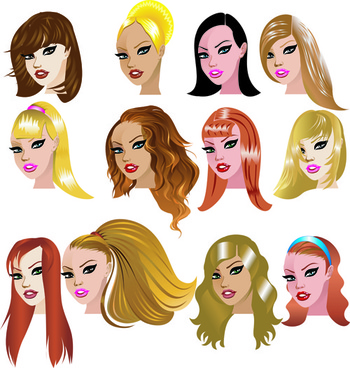 various womens haircut design vector