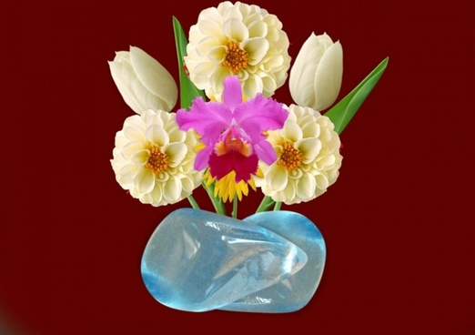 vase flowers blue stone