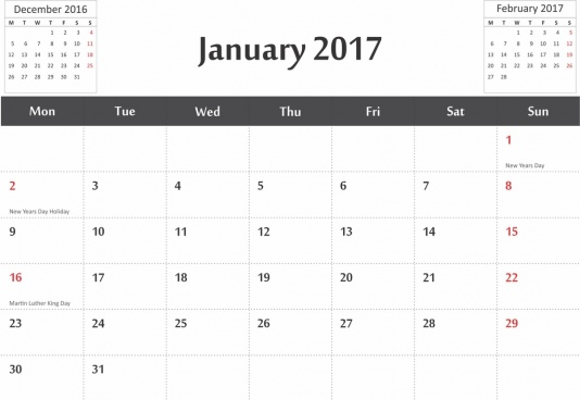 vector 2017 calendar in cdr and pdf format with previous and next months dates