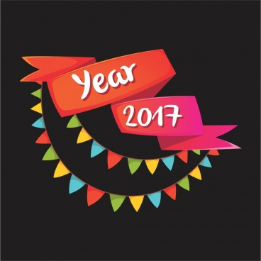 vector 2017 festival color decoration ribbon