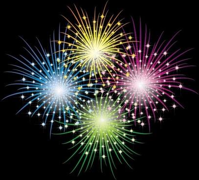 vector 3 brilliant fireworks fireworks