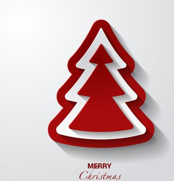 vector 3d red white christmas tree