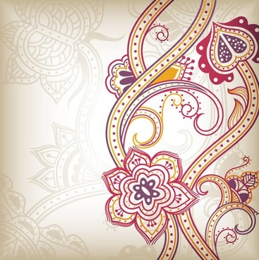 traditional floral background colorful dynamic flat curves