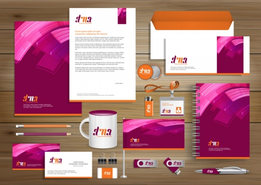 vector abstract stationery editable corporate identity template design gift items business color promotional souvenirs elements link digital technology stationery set