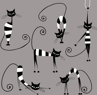 vector amusing cats design set