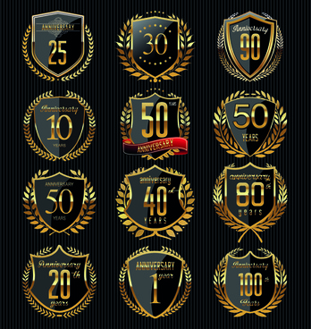 vector anniversary glass labels