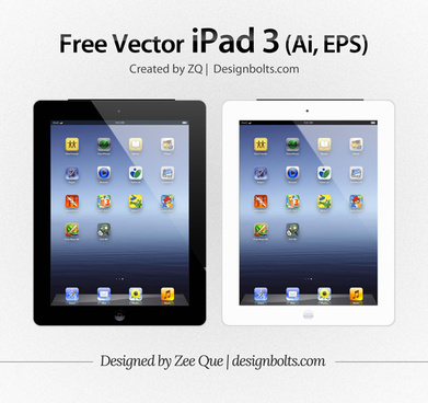 vector apple ipad 3 tablet mockup