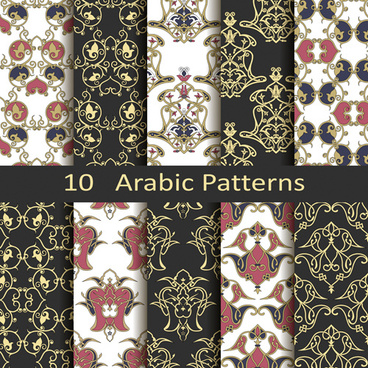 vector arabic style seamless patterns