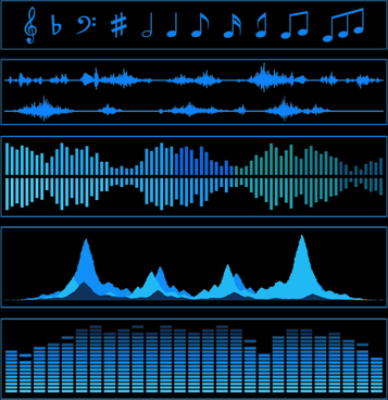 vector audio waves background graphics