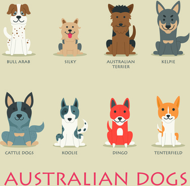 vector australian dogs icons