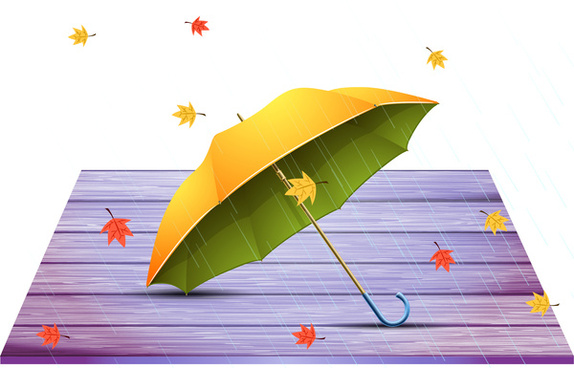vector autumn background with yellow umbrella