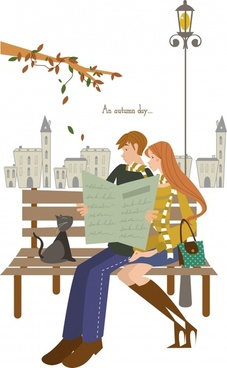 love couple painting park bench autumn leaves decor