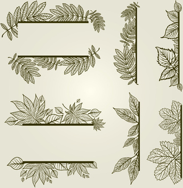 vector autumn leafs frames with borders