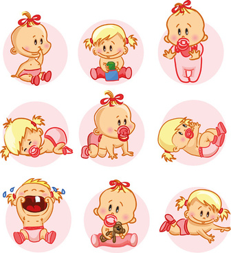 vector baby design elements set