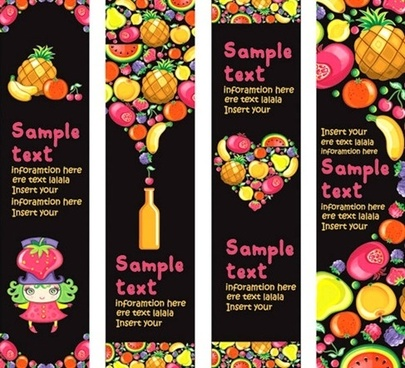 Vector Background of Colorful Fruits and Banner Material