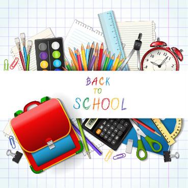 vector background school elements illustration