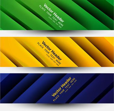 vector banner brazil flag concept colorful wave three header set design