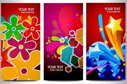 colorful eventful banners sets flowers stars decoration