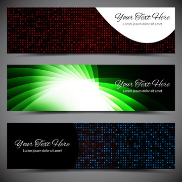 vector banners deisgn sets with light effect background