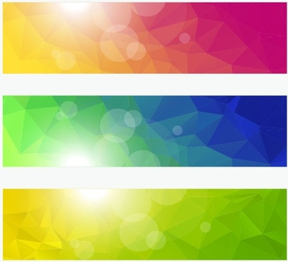 vector banners with colorful polygonal background