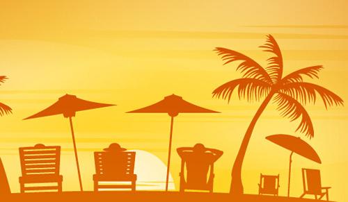 vector beach sunbeds silhouette