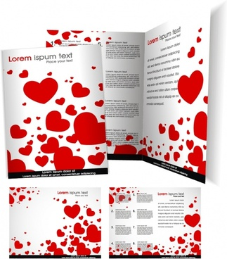 valentine flyer template modern red heart decor